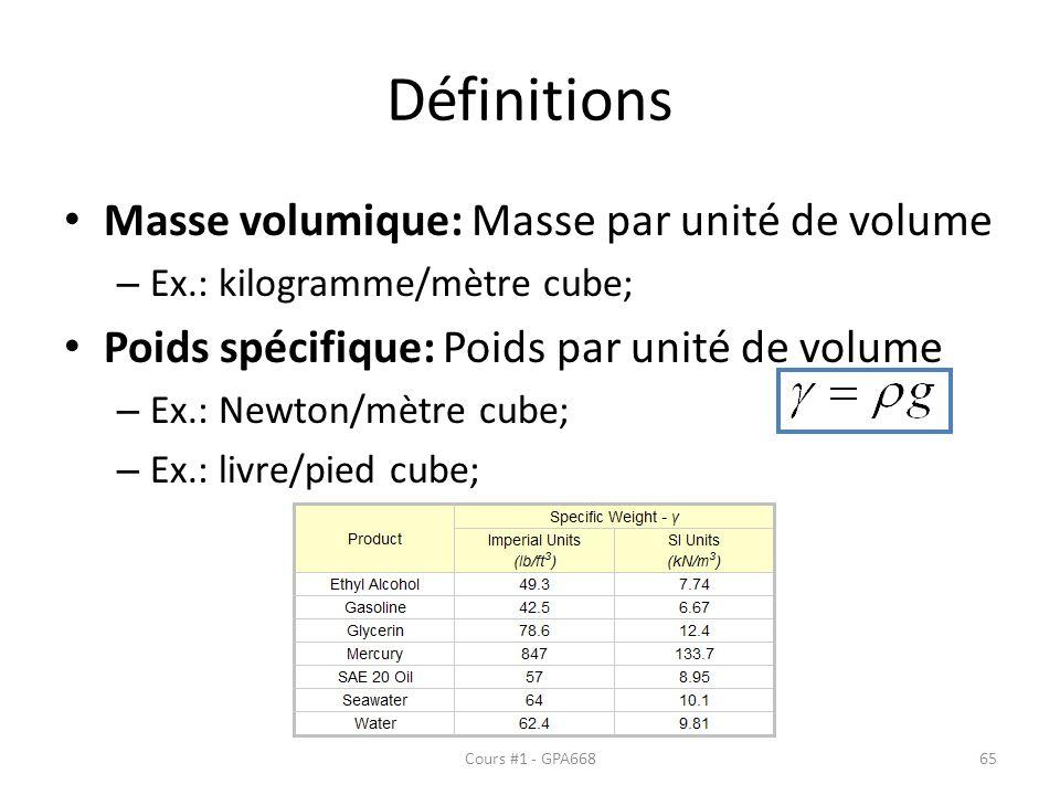 Définitions Masse volumique: Masse par unité de volume – Ex.: kilogramme/mètre cube; Poids spécifique: Poids par unité de volume – Ex.: Newton/mètre c