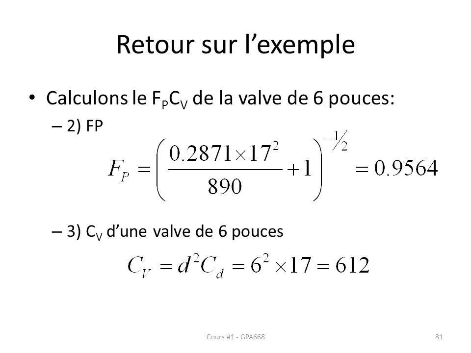 Retour sur lexemple Calculons le F P C V de la valve de 6 pouces: – 2) FP – 3) C V dune valve de 6 pouces Cours #1 - GPA66881
