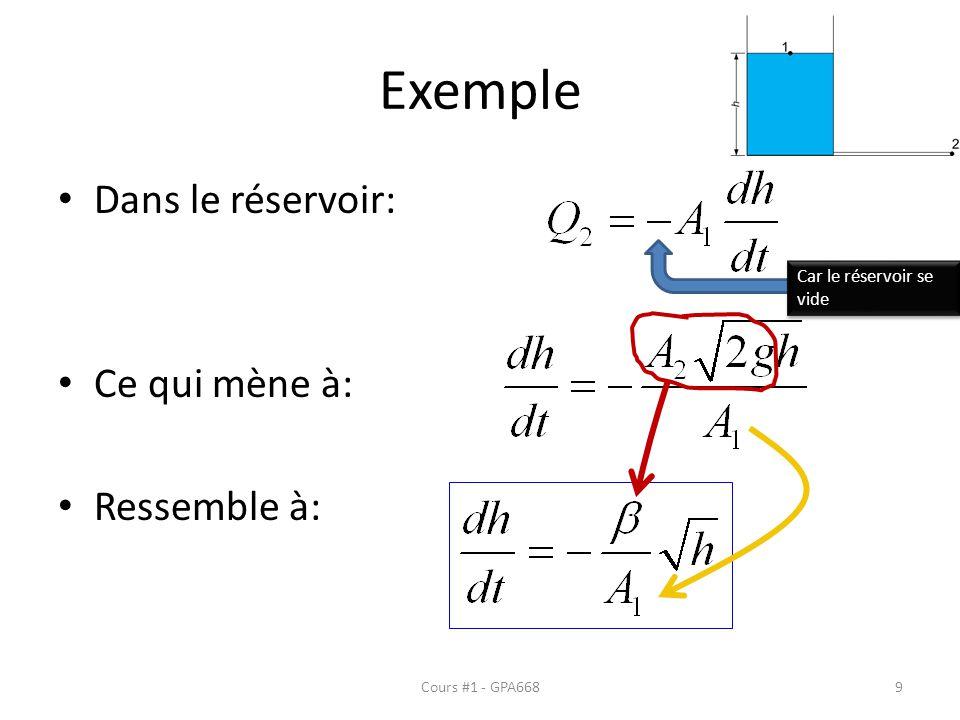 Exemple Dans le réservoir: Ce qui mène à: Ressemble à: Car le réservoir se vide Cours #1 - GPA6689