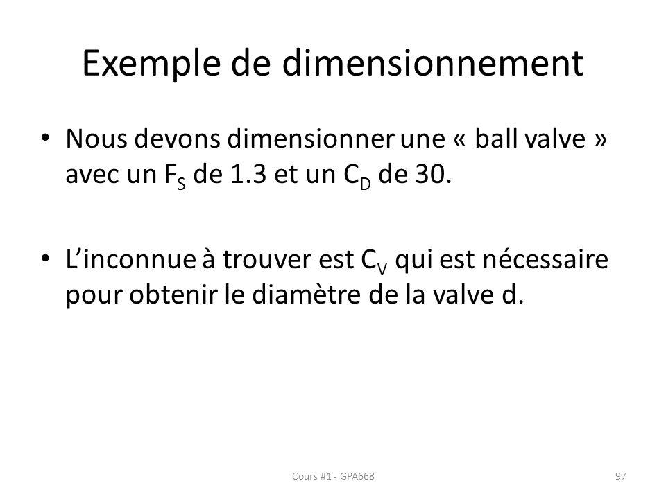 Exemple de dimensionnement Nous devons dimensionner une « ball valve » avec un F S de 1.3 et un C D de 30. Linconnue à trouver est C V qui est nécessa