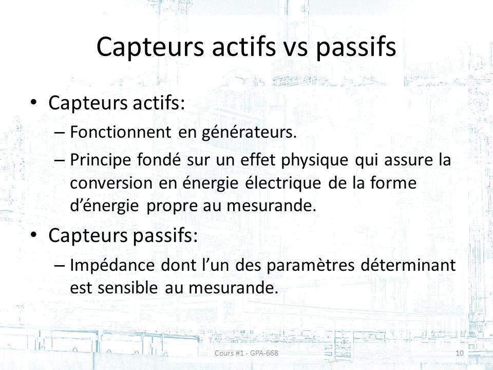 Capteurs actifs vs passifs Capteurs actifs: – Fonctionnent en générateurs. – Principe fondé sur un effet physique qui assure la conversion en énergie