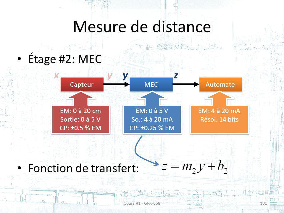Mesure de distance Étage #2: MEC Fonction de transfert: x Capteur MEC Automate EM: 0 à 20 cm Sortie: 0 à 5 V CP: ±0.5 % EM EM: 0 à 20 cm Sortie: 0 à 5 V CP: ±0.5 % EM EM: 0 à 5 V So.: 4 à 20 mA CP: ±0.25 % EM EM: 0 à 5 V So.: 4 à 20 mA CP: ±0.25 % EM EM: 4 à 20 mA Résol.