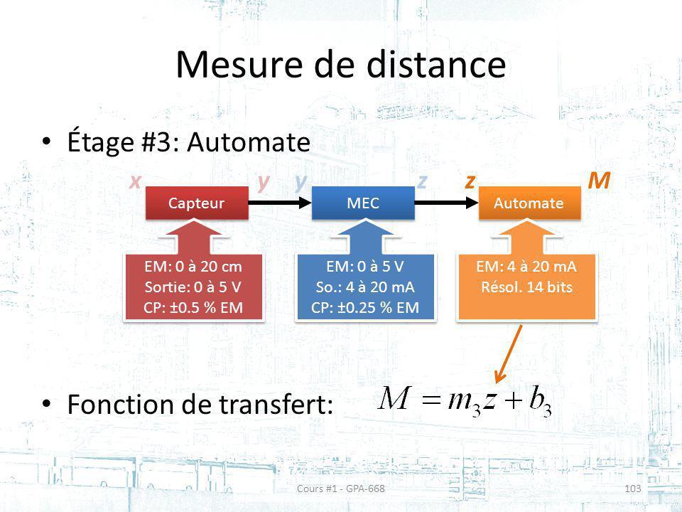 Mesure de distance Étage #3: Automate Fonction de transfert: x Capteur MEC Automate EM: 0 à 20 cm Sortie: 0 à 5 V CP: ±0.5 % EM EM: 0 à 20 cm Sortie: 0 à 5 V CP: ±0.5 % EM EM: 0 à 5 V So.: 4 à 20 mA CP: ±0.25 % EM EM: 0 à 5 V So.: 4 à 20 mA CP: ±0.25 % EM EM: 4 à 20 mA Résol.