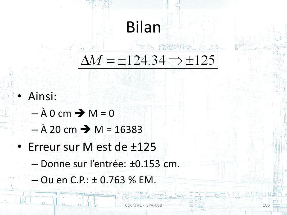 Bilan Ainsi: – À 0 cm M = 0 – À 20 cm M = 16383 Erreur sur M est de ±125 – Donne sur lentrée: ±0.153 cm. – Ou en C.P.: ± 0.763 % EM. Cours #1 - GPA-66