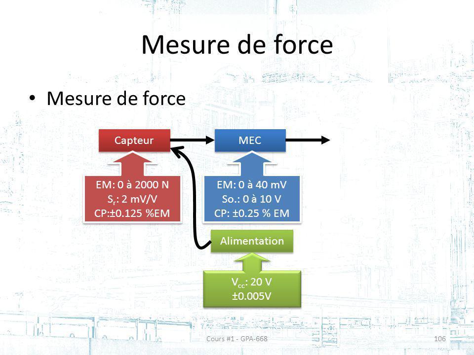 Mesure de force Capteur MEC EM: 0 à 2000 N S r : 2 mV/V CP:±0.125 %EM EM: 0 à 2000 N S r : 2 mV/V CP:±0.125 %EM EM: 0 à 40 mV So.: 0 à 10 V CP: ±0.25 % EM EM: 0 à 40 mV So.: 0 à 10 V CP: ±0.25 % EM Alimentation V cc : 20 V ±0.005V V cc : 20 V ±0.005V Cours #1 - GPA-668106