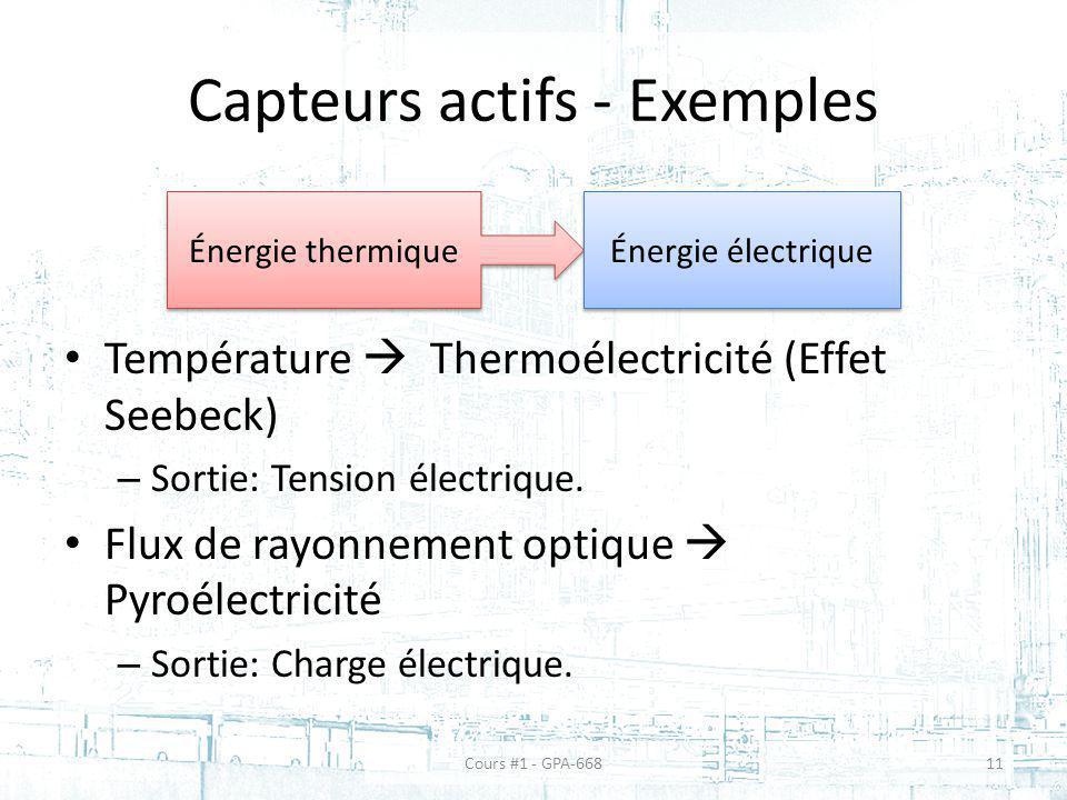 Capteurs actifs - Exemples Température Thermoélectricité (Effet Seebeck) – Sortie: Tension électrique. Flux de rayonnement optique Pyroélectricité – S
