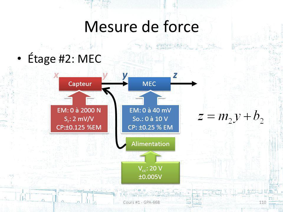 Mesure de force Étage #2: MEC Capteur MEC EM: 0 à 2000 N S r : 2 mV/V CP:±0.125 %EM EM: 0 à 2000 N S r : 2 mV/V CP:±0.125 %EM EM: 0 à 40 mV So.: 0 à 1