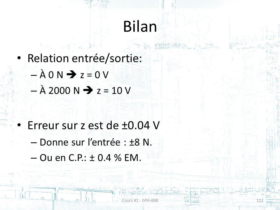 Bilan Relation entrée/sortie: – À 0 N z = 0 V – À 2000 N z = 10 V Erreur sur z est de ±0.04 V – Donne sur lentrée : ±8 N.