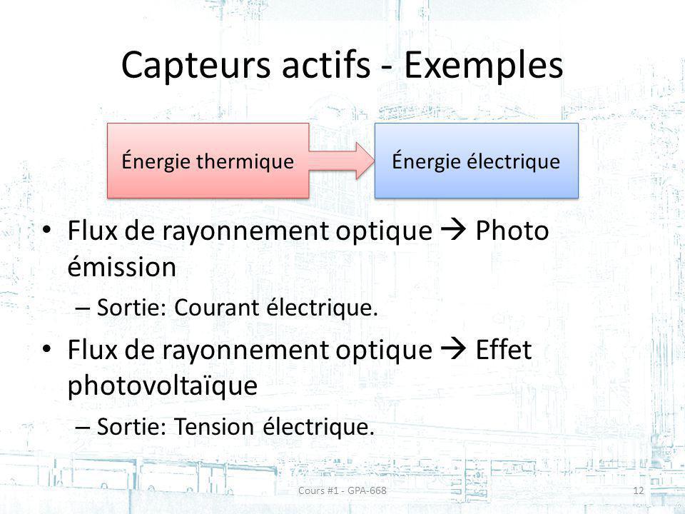 Capteurs actifs - Exemples Flux de rayonnement optique Photo émission – Sortie: Courant électrique. Flux de rayonnement optique Effet photovoltaïque –