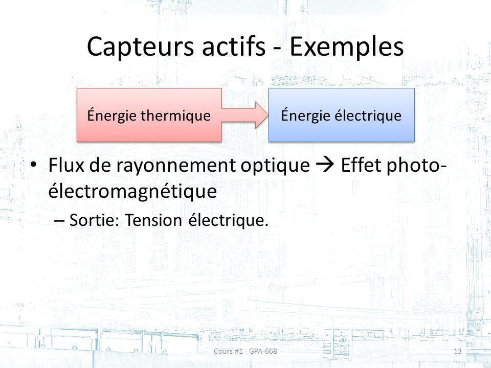 Capteurs actifs - Exemples Flux de rayonnement optique Effet photo- électromagnétique – Sortie: Tension électrique. Énergie thermique Énergie électriq
