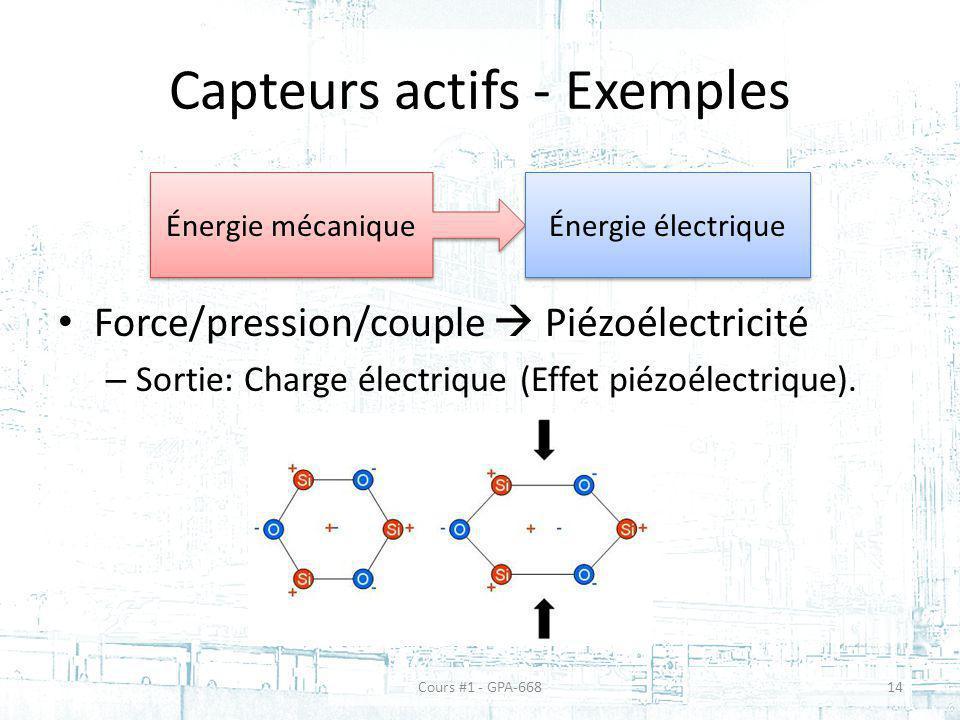 Capteurs actifs - Exemples Force/pression/couple Piézoélectricité – Sortie: Charge électrique (Effet piézoélectrique). Énergie mécanique Énergie élect