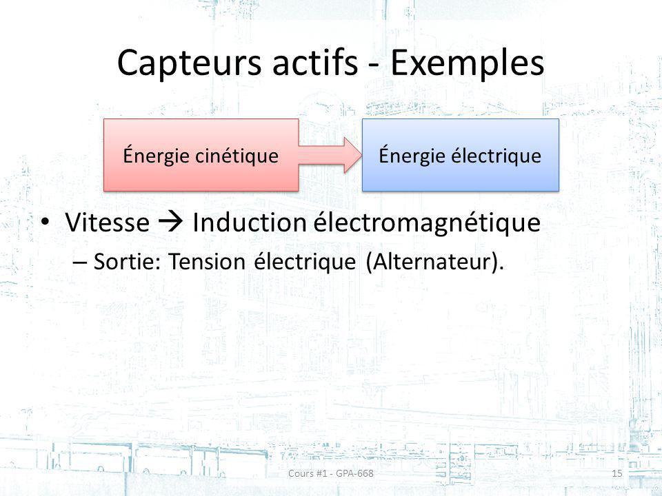 Capteurs actifs - Exemples Vitesse Induction électromagnétique – Sortie: Tension électrique (Alternateur). Énergie cinétique Énergie électrique Cours