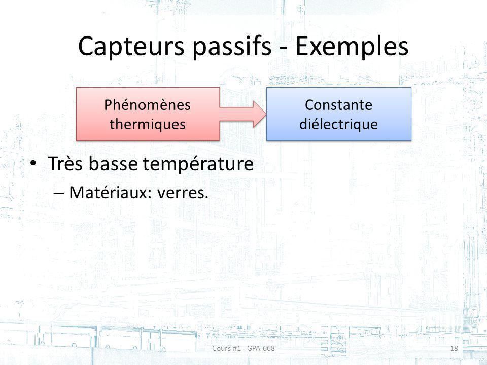 Capteurs passifs - Exemples Très basse température – Matériaux: verres.