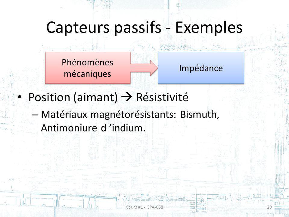 Capteurs passifs - Exemples Position (aimant) Résistivité – Matériaux magnétorésistants: Bismuth, Antimoniure d indium. Phénomènes mécaniques Impédanc