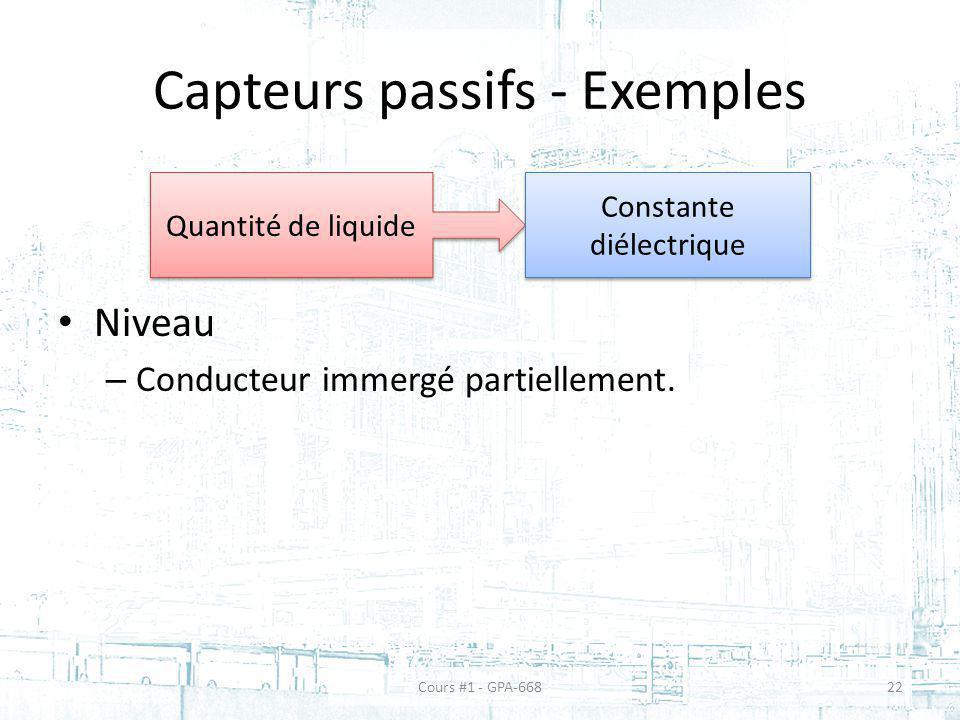 Capteurs passifs - Exemples Niveau – Conducteur immergé partiellement. Quantité de liquide Constante diélectrique Cours #1 - GPA-66822