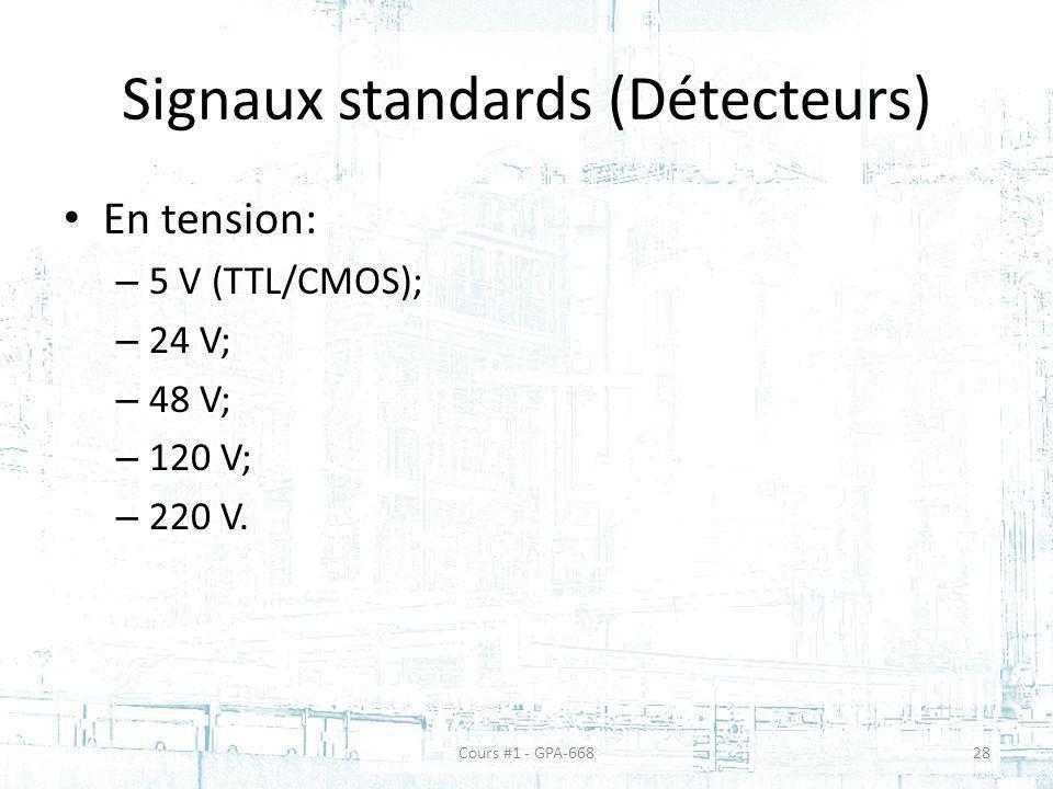 Signaux standards (Détecteurs) En tension: – 5 V (TTL/CMOS); – 24 V; – 48 V; – 120 V; – 220 V. Cours #1 - GPA-66828