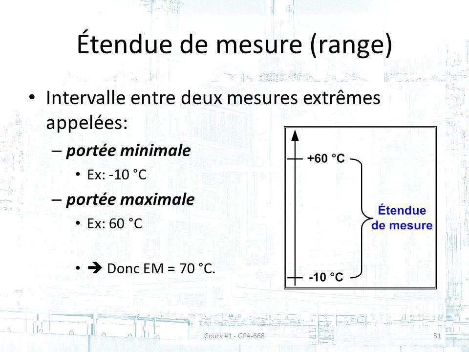 Étendue de mesure (range) Intervalle entre deux mesures extrêmes appelées: – portée minimale Ex: -10 °C – portée maximale Ex: 60 °C Donc EM = 70 °C. C