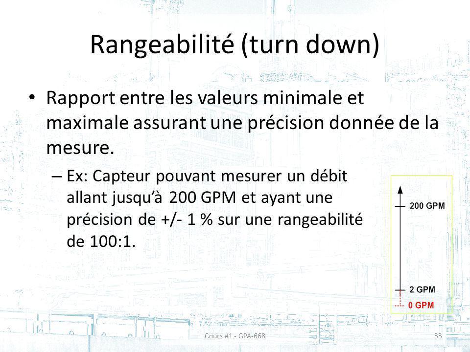 Rangeabilité (turn down) Rapport entre les valeurs minimale et maximale assurant une précision donnée de la mesure. – Ex: Capteur pouvant mesurer un d