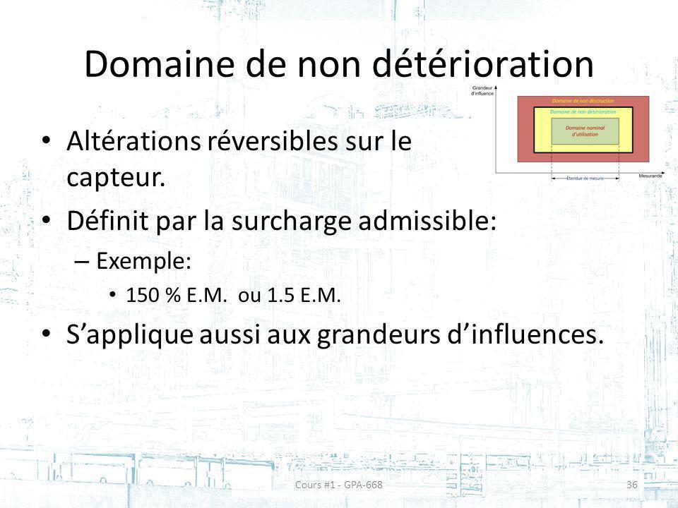 Domaine de non détérioration Altérations réversibles sur le capteur. Définit par la surcharge admissible: – Exemple: 150 % E.M. ou 1.5 E.M. Sapplique