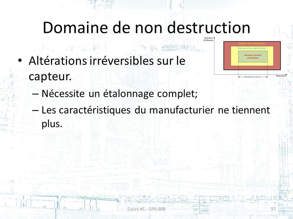 Domaine de non destruction Altérations irréversibles sur le capteur. – Nécessite un étalonnage complet; – Les caractéristiques du manufacturier ne tie