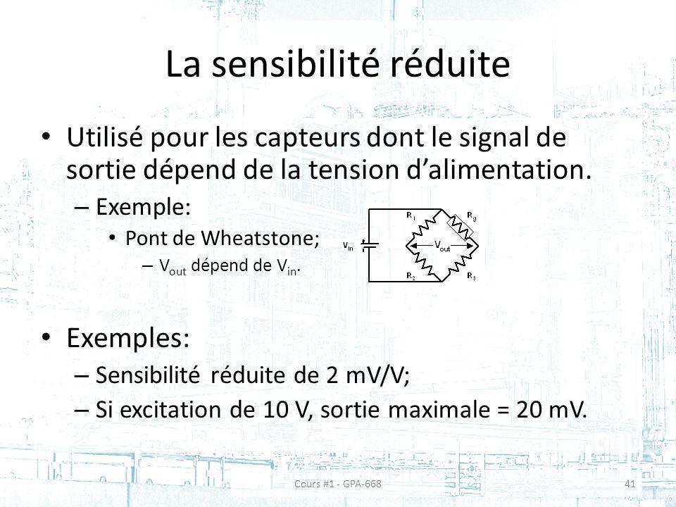 La sensibilité réduite Utilisé pour les capteurs dont le signal de sortie dépend de la tension dalimentation. – Exemple: Pont de Wheatstone; – V out d