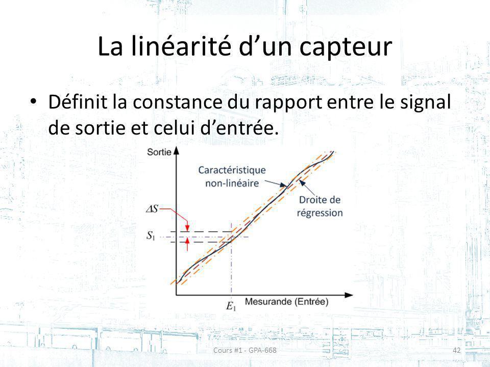 La linéarité dun capteur Définit la constance du rapport entre le signal de sortie et celui dentrée. Cours #1 - GPA-66842