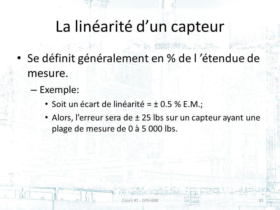 La linéarité dun capteur Se définit généralement en % de l étendue de mesure. – Exemple: Soit un écart de linéarité = ± 0.5 % E.M.; Alors, lerreur ser