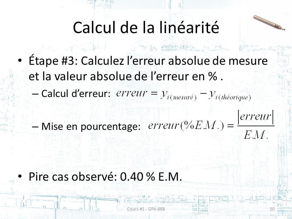 Calcul de la linéarité Étape #3: Calculez lerreur absolue de mesure et la valeur absolue de lerreur en %.