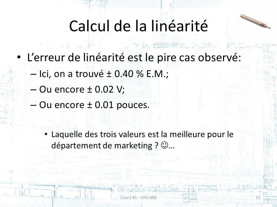 Calcul de la linéarité Lerreur de linéarité est le pire cas observé: – Ici, on a trouvé ± 0.40 % E.M.; – Ou encore ± 0.02 V; – Ou encore ± 0.01 pouces