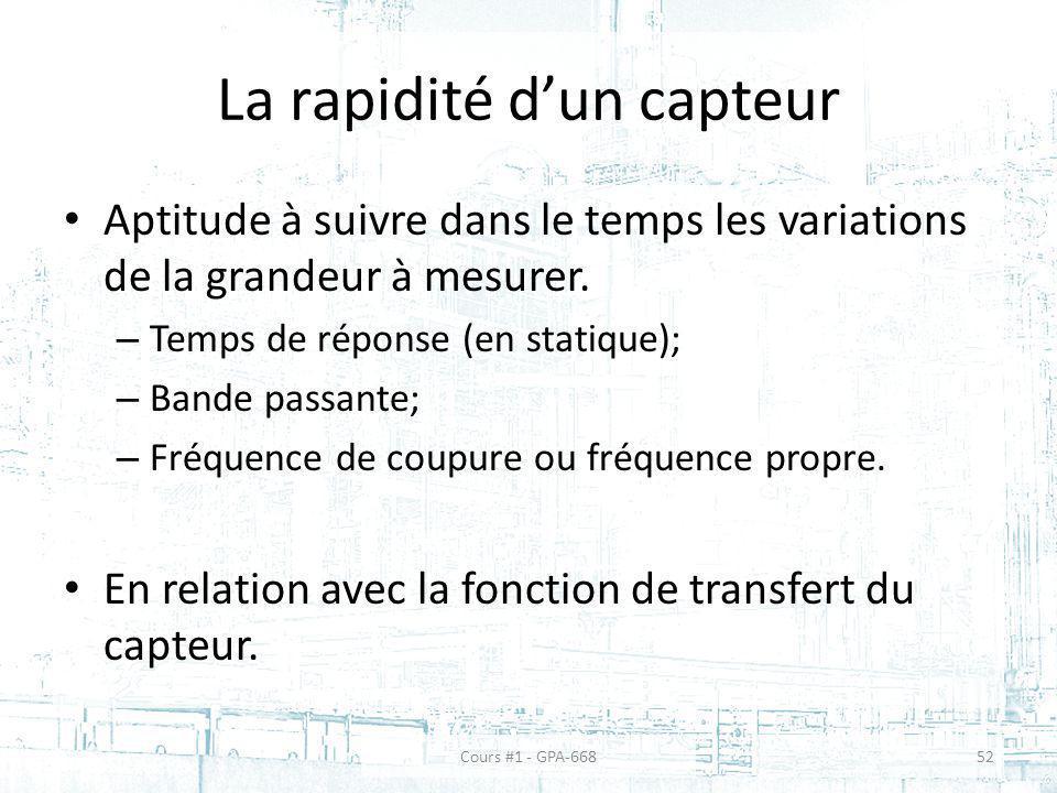 La rapidité dun capteur Aptitude à suivre dans le temps les variations de la grandeur à mesurer. – Temps de réponse (en statique); – Bande passante; –