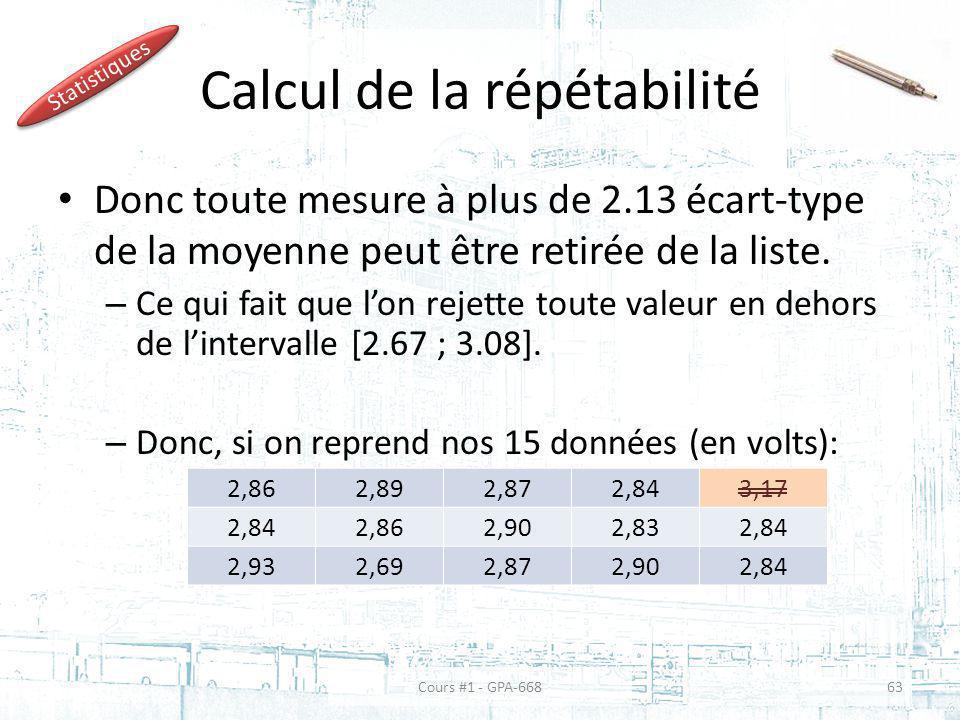 Calcul de la répétabilité Donc toute mesure à plus de 2.13 écart-type de la moyenne peut être retirée de la liste.