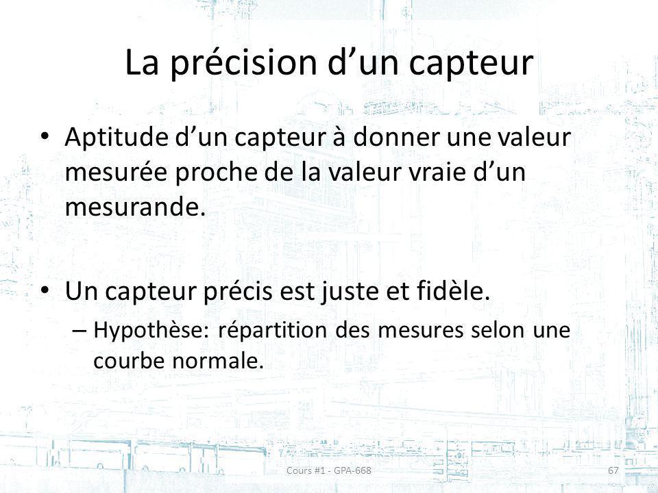 La précision dun capteur Aptitude dun capteur à donner une valeur mesurée proche de la valeur vraie dun mesurande. Un capteur précis est juste et fidè