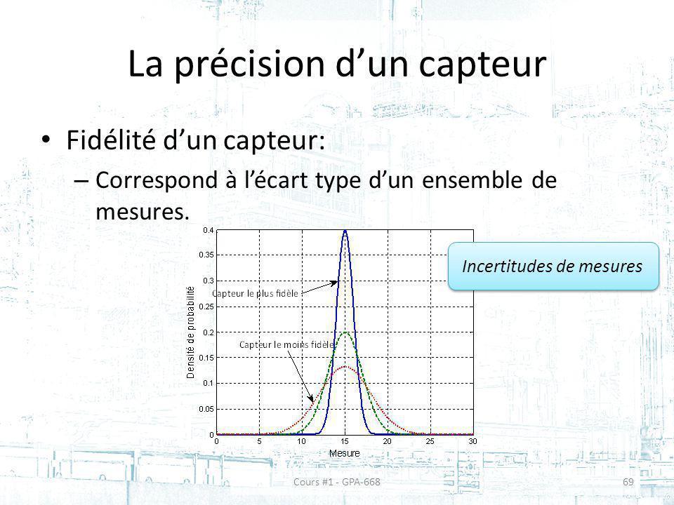 La précision dun capteur Fidélité dun capteur: – Correspond à lécart type dun ensemble de mesures. Incertitudes de mesures Cours #1 - GPA-66869