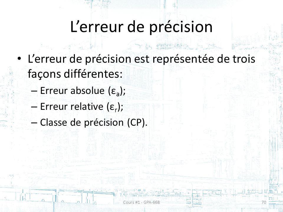 Lerreur de précision Lerreur de précision est représentée de trois façons différentes: – Erreur absolue (ε a ); – Erreur relative (ε r ); – Classe de