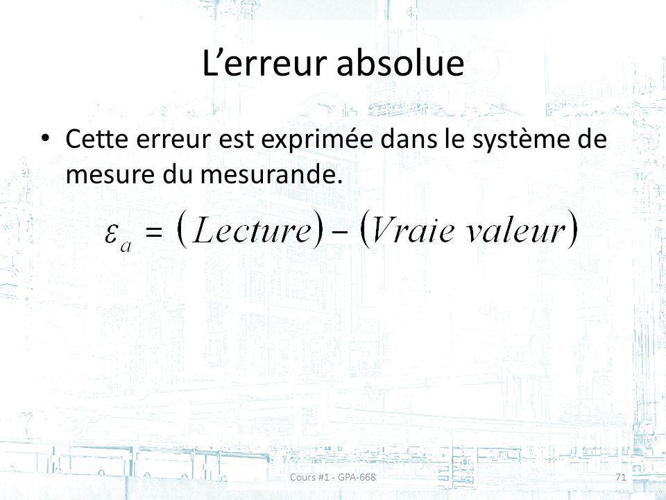 Lerreur absolue Cette erreur est exprimée dans le système de mesure du mesurande. Cours #1 - GPA-66871
