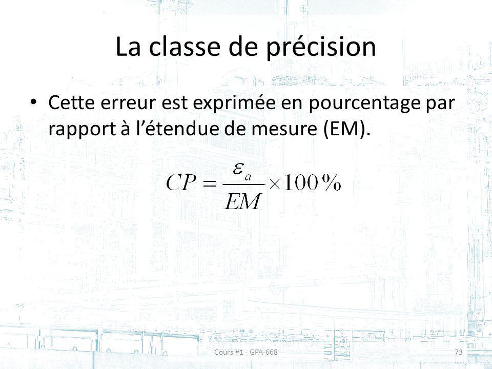 La classe de précision Cette erreur est exprimée en pourcentage par rapport à létendue de mesure (EM). Cours #1 - GPA-66873