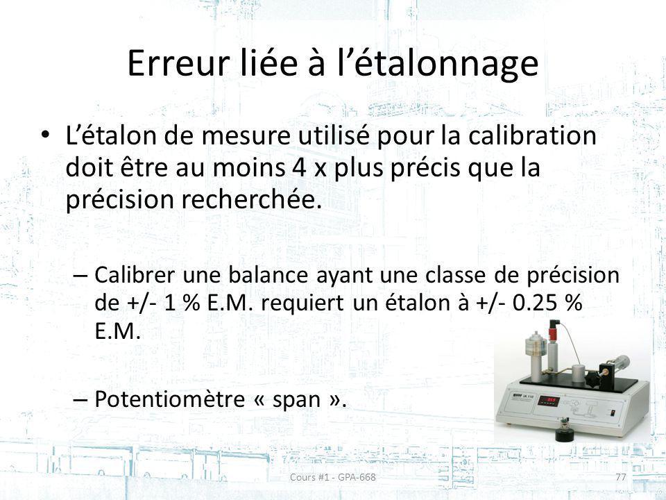 Erreur liée à létalonnage Létalon de mesure utilisé pour la calibration doit être au moins 4 x plus précis que la précision recherchée.
