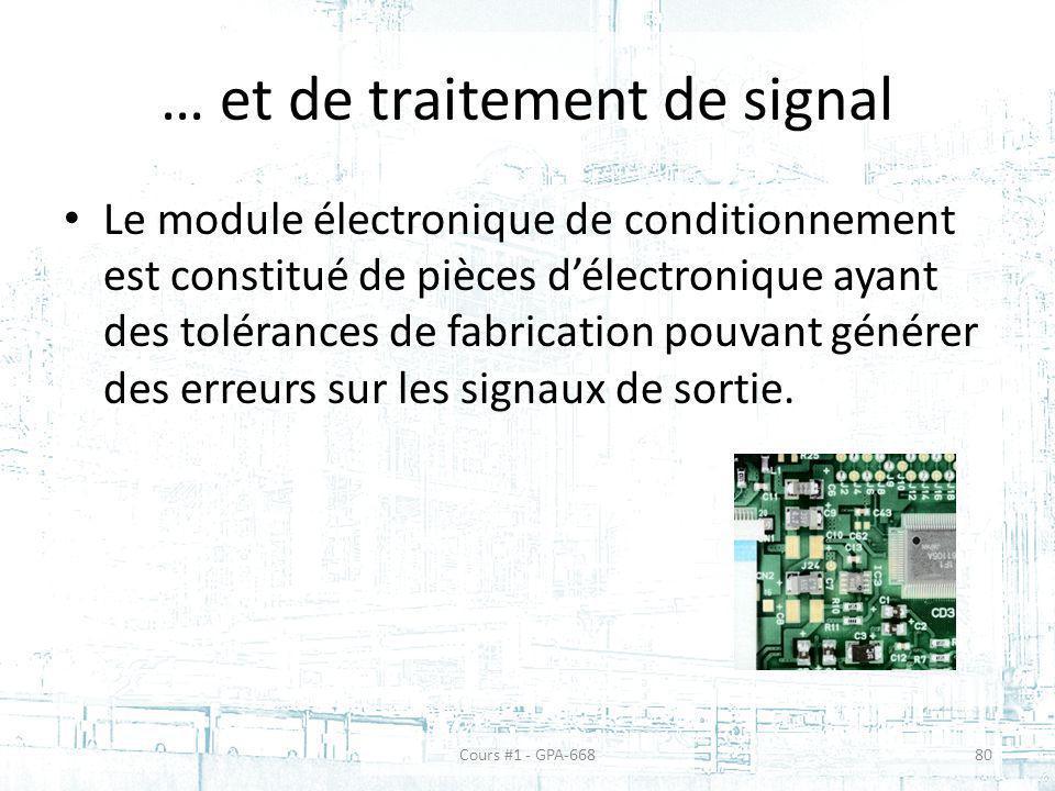 … et de traitement de signal Le module électronique de conditionnement est constitué de pièces délectronique ayant des tolérances de fabrication pouva