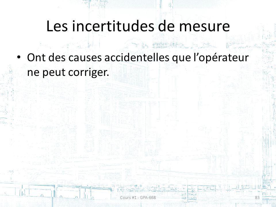Les incertitudes de mesure Ont des causes accidentelles que lopérateur ne peut corriger. Cours #1 - GPA-66883