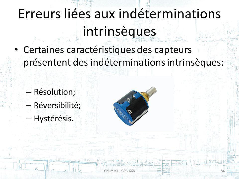 Erreurs liées aux indéterminations intrinsèques Certaines caractéristiques des capteurs présentent des indéterminations intrinsèques: – Résolution; –