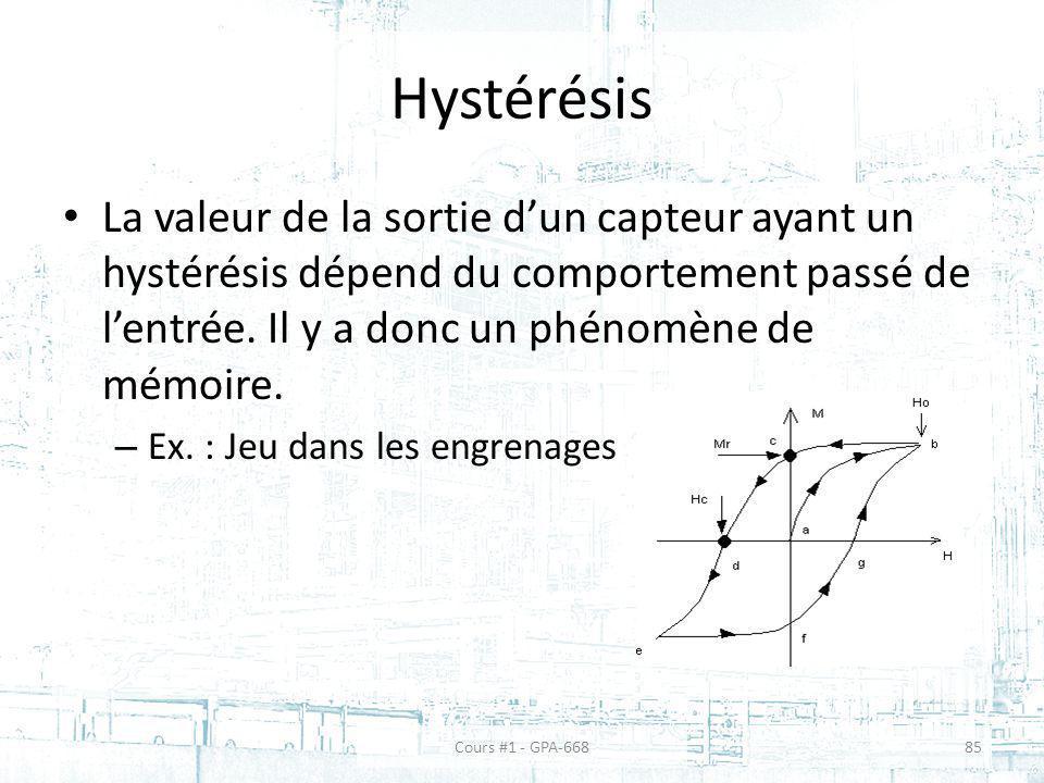 Hystérésis La valeur de la sortie dun capteur ayant un hystérésis dépend du comportement passé de lentrée. Il y a donc un phénomène de mémoire. – Ex.
