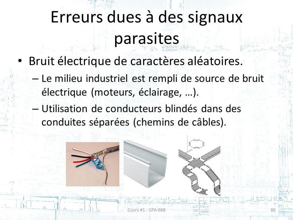 Erreurs dues à des signaux parasites Bruit électrique de caractères aléatoires.