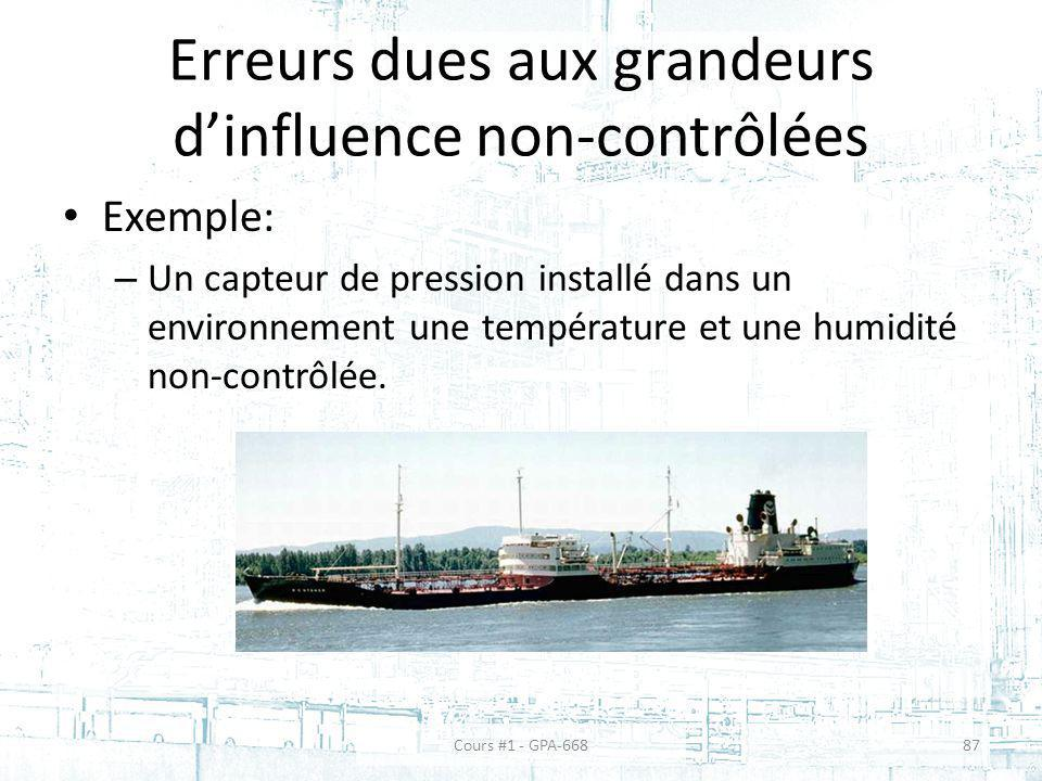 Erreurs dues aux grandeurs dinfluence non-contrôlées Exemple: – Un capteur de pression installé dans un environnement une température et une humidité