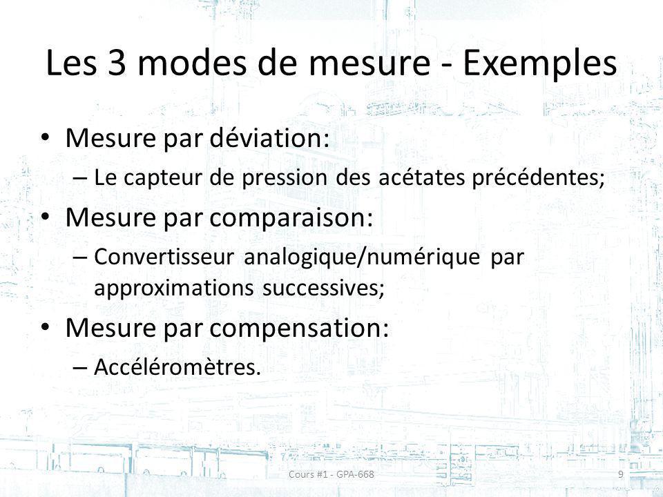 La sensibilité dun capteur Exemples: – 10 volts/mètres; – 0.05 mV/°C.