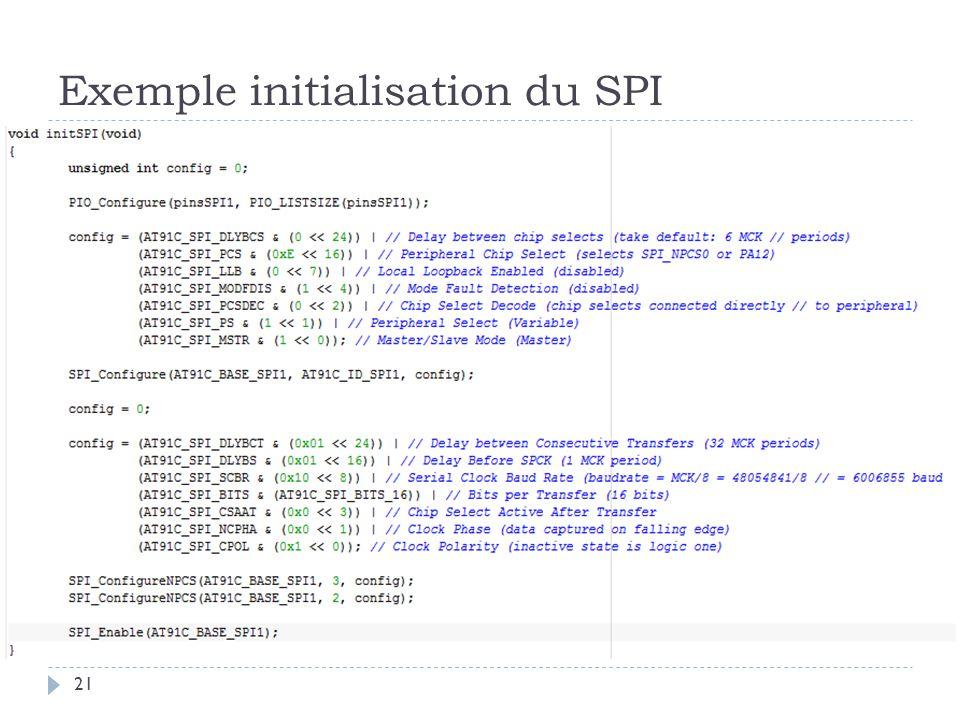 Exemple initialisation du SPI 21