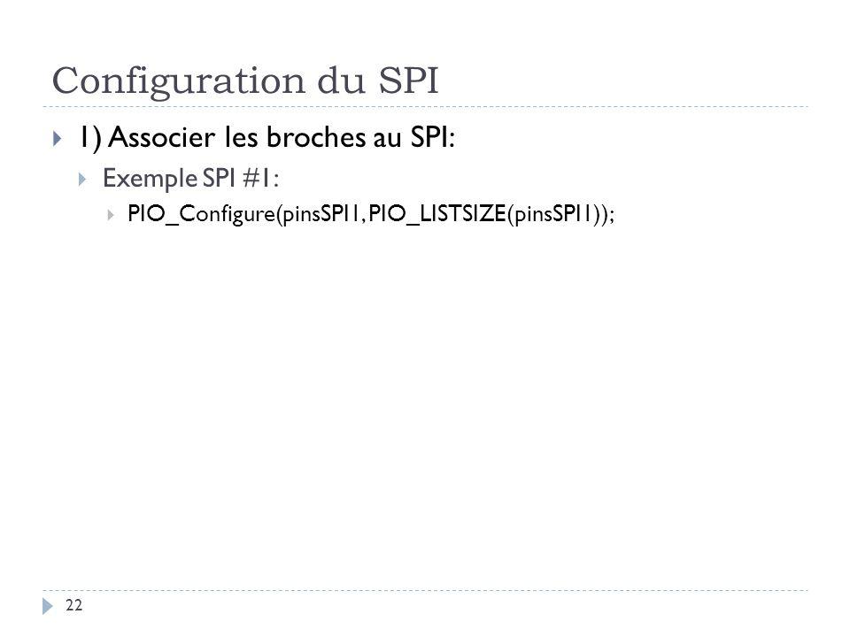 Configuration du SPI 22 1) Associer les broches au SPI: Exemple SPI #1: PIO_Configure(pinsSPI1, PIO_LISTSIZE(pinsSPI1));