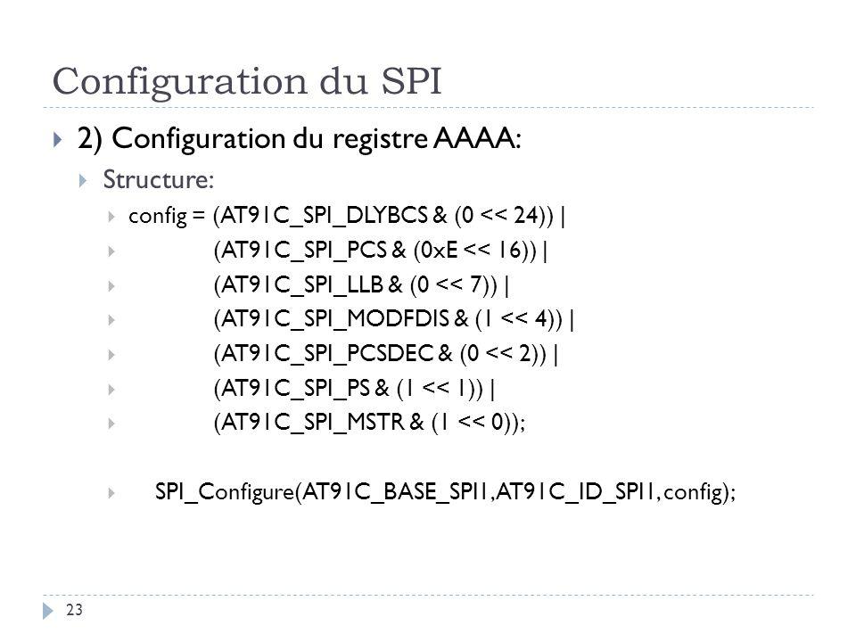 Configuration du SPI 23 2) Configuration du registre AAAA: Structure: config = (AT91C_SPI_DLYBCS & (0 << 24)) | (AT91C_SPI_PCS & (0xE << 16)) | (AT91C_SPI_LLB & (0 << 7)) | (AT91C_SPI_MODFDIS & (1 << 4)) | (AT91C_SPI_PCSDEC & (0 << 2)) | (AT91C_SPI_PS & (1 << 1)) | (AT91C_SPI_MSTR & (1 << 0)); SPI_Configure(AT91C_BASE_SPI1, AT91C_ID_SPI1, config);
