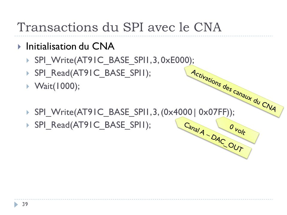 Transactions du SPI avec le CNA 39 Initialisation du CNA SPI_Write(AT91C_BASE_SPI1, 3, 0xE000); SPI_Read(AT91C_BASE_SPI1); Wait(1000); SPI_Write(AT91C_BASE_SPI1, 3, (0x4000 | 0x07FF)); SPI_Read(AT91C_BASE_SPI1); Activations des canaux du CNA Canal A – DAC_OUT 0 volt