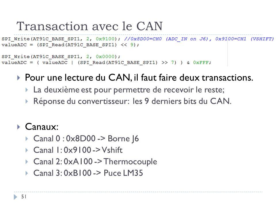 Transaction avec le CAN 51 Pour une lecture du CAN, il faut faire deux transactions.