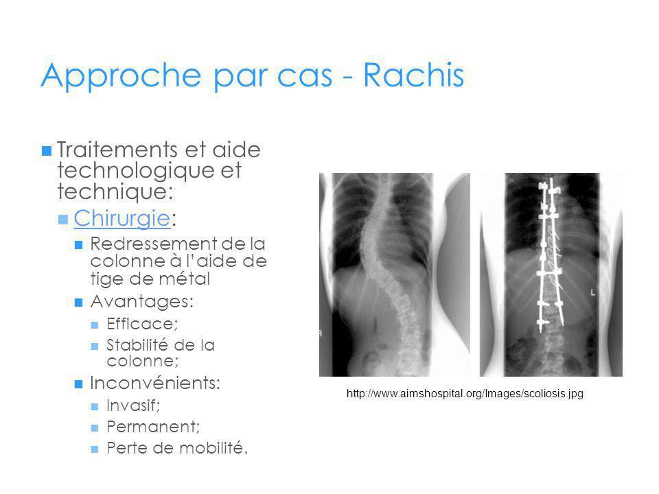 Approche par cas - Rachis Traitements et aide technologique et technique: Chirurgie: Chirurgie Redressement de la colonne à laide de tige de métal Avantages: Efficace; Stabilité de la colonne; Inconvénients: Invasif; Permanent; Perte de mobilité.